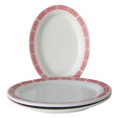 3  Restaurant Ware Red and White Oval Platters 10""