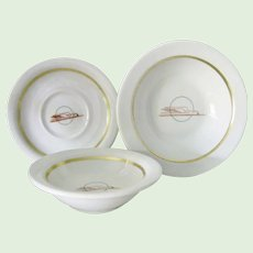 3 Pieces Union Pacific Railroad China Bowls and Saucer Winged Streamliner