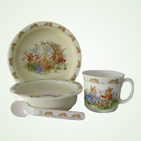 4 Pieces  Bunnykins 2 Bowls, 1 Mug, 1 Spoon Royal Doulton Fine Bone China