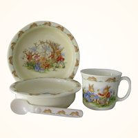 4 Pieces  Bunnykins 2 Bowls, 1 Mug, 1 Spoon Royal Doulton Fine Bone China