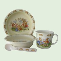 4 Pieces  Bunnykins Bowls, Mug, Spoon China