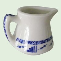 Wallace China Restaurant Ware Creamer Pitcher Aztec 2 Pattern Blue