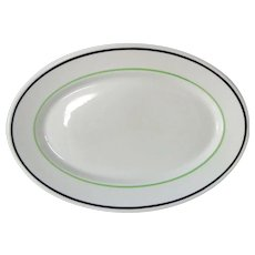 OPCO Syracuse China Platter Howard Pattern 1928 Green and Black Stripe