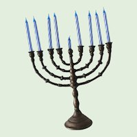 Small Brass Chanukkah Menorah Use for Travel