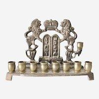 Brass Chanukkah menorah Lions Crown Hebrew writing