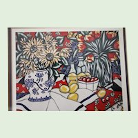 "Brooke Howie Framed Lithograph ""Sunflowers and Strawberries"" 1992"
