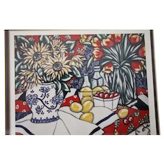 """Brooke Howie Framed Lithograph """"Sunflowers and Strawberries"""" 1992"""