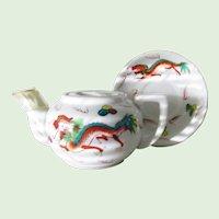 Red Dragon Teapot Matching Saucer Restaurant Ware