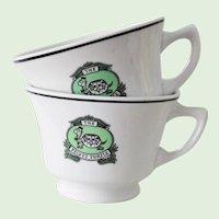 2 Mayer China Velvet Turtle Restaurant Ware Coffee Cups Vintage New