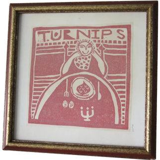 Framed Linocut Print  signed Curtis titled Turnips 7 1/4 Inch x 7 1/4 inch