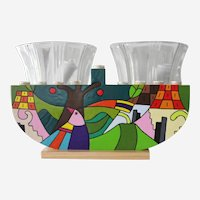 Multi Color Hand Painted Wooden Hanukkah Menorah