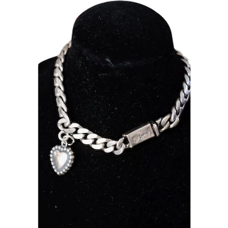 Castelan Sterling Silver Bracelet heart charm 7 inches Mexico