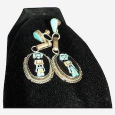 "Large Oval Zuni Silver Turquoise Onyx Earrings 2.5"" Long"