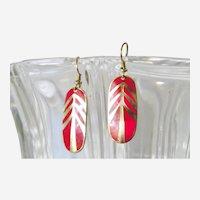 Red and Goldtone Laurel Burch Geometric dangle earrings