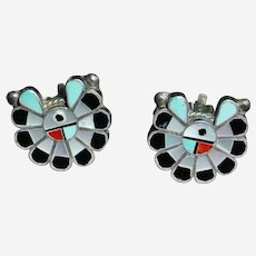 Zuni Silver Turquoise mixed stone Clip Earrings