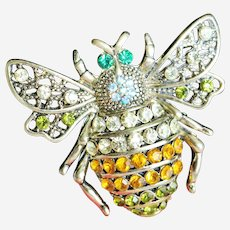 Large Rhinestone Bumble Bee Insect Brooch