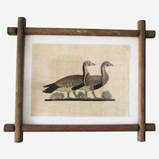 Framed Papyrus Hand Painted Art Egyptian Geese