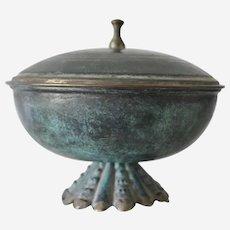 Estate Judaica Metal Covered Bowl Made in Israel