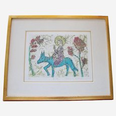 Eiichi Shibuya Color Etching Signed, Matted and Framed