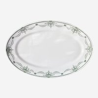Large McNicol China Oval Serving Platter Restaurant Ware Green Urns and Swags pattern
