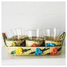 Wicker Serving Set 6 stackable drinking glasses Mint