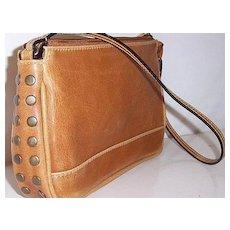 vintage brass studded Brown Leather handbag