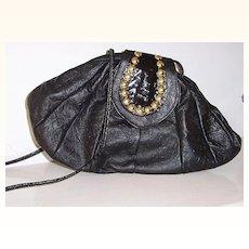 Large Shafir Black Leather Studded Shoulder Bag  mint