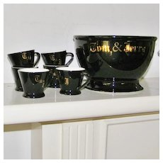 Black and Gold Tom and Jerry or Egg Nog Bowl set with 6 Cups Mugs