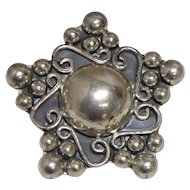 Vintage TAXCO TD-77 Sterling Silver 925 Ball Star Brooch Pendant