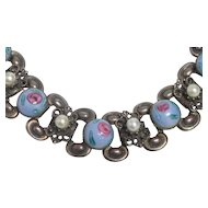 Vintage Victorian Revival Czech Blue Milk Glass Pink Rose Faux Pearl Ornate Bracelet