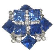 "Stunning Vintage Sapphire Blue & Clear Layered Rhinestone Window Pane Brooch 2"""