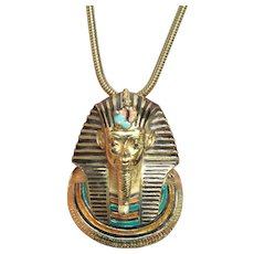 Vintage EISENBERG Enameled KING TUT Egyptian Revival Necklace Excellent!