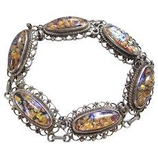 """Vintage Taxco Harlequin Foiled Fire Opal Glass Sterling Silver 925 Bracelet 8"""""""