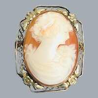 Vintage Shell Cameo Sterling Silver Flower Filigree Brooch c.1920's