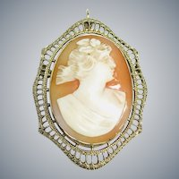 14k White Gold Shell Carved Cameo Filigree Brooch Pendant