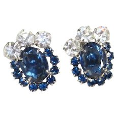 Vintage Juliana D&E Delizza Elster Verified Blue White Rhinestone Clip Earrings