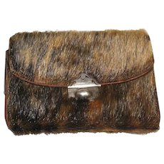 Antique c.1910 Rare Beaver Fur Dutch Silver & Leather Coin Purse Wallet HALLMARKED