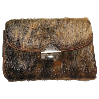 Antique c.1910 Rare Fur Dutch Silver & Leather Coin Purse Wallet HALLMARKED