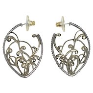 Vintage Judith Jack Signed Art Nouveau Style Sterling Silver Marcasite Hoop Earrings
