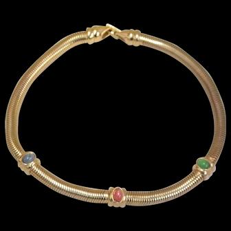 Vintage Carolee Signed Glass Cabochon Snake Chain Choker Necklace