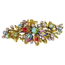 Vintage FLORENZA Melon Carnival Art Glass Floral Leaves AB Rhinestone Brooch