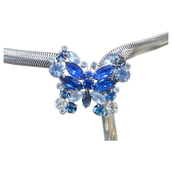 "Vintage Blue Glass Rhinestone Butterfly Buckle Silver Snake Chain Belt c.1950's/60's 38"""