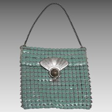 Vintage c1920's Art Deco Teal Green Metal Mesh Chain Mail Coin Change Purse