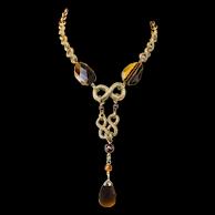 "Beautiful Tiger Eye Gemstone Gold Tone Lavalier Drop Dangle Necklace Designer Style 20"""