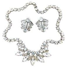Vintage Eisenberg Ice Rhinestone Necklace & Eisenberg Rhinestone Earrings Gorgeous!
