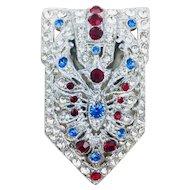 Sparkling Deco Rhinestone New England Glassworks Dress Clip Brooch