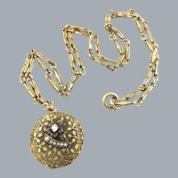 Vintage Gold Filled Art Deco Locket Necklace Rhinestone Seed Pearl Flower