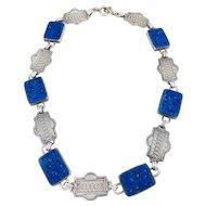 Vintage ART DECO Czech Lapis Blue Art Glass Sterling Silver Choker Necklace