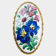 Vintage Sweet Painted Pink & Blue Enameled Floral Brass Brooch c1930's