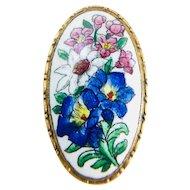 Vintage Sweet Painted Pink & Blue Enameled Floral Brass Brooch c1930's
